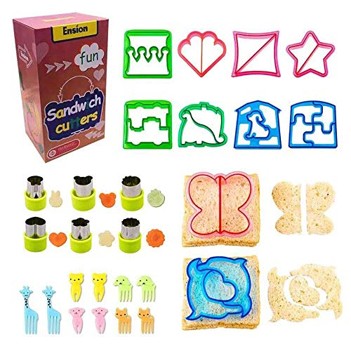 Sandwich and vegetable cutters set for kids 10 bread Crust Cutters/6 Stainless Steel/10 Food Picks Complete Bento Lunch Box Supplies and Accessories for Kids Make Funny School Lunch & Family Friendly