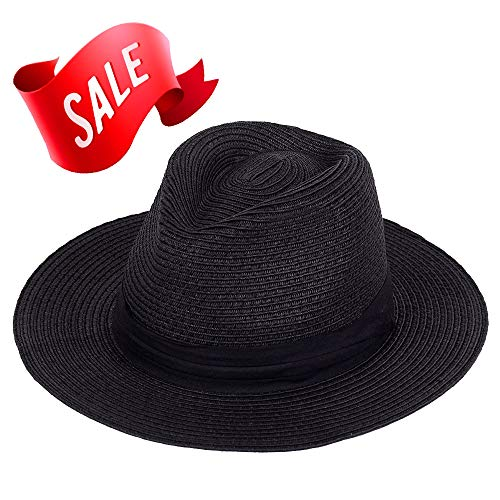 Panama Straw Hat,Women Sun Hats Wide Brim Floppy Foldable Summer Fedora Beach Cap Sun Protection (Black Panama Straw Hat)