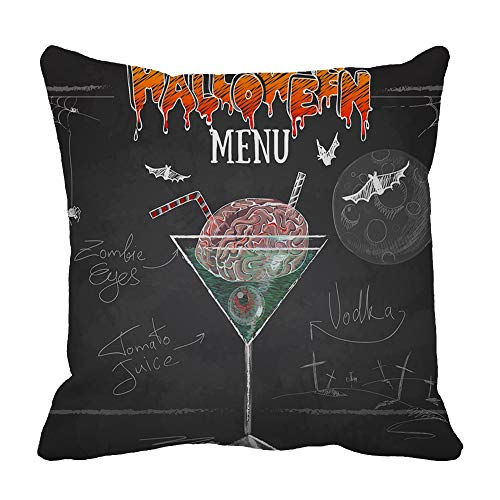 Mugod Decorative Pillow Cover Vintage Chalk Drawing Halloween Cocktail Menu Pillow Case Home Decor Cushion Cover for Couch Sofa Bed Car Square 20X20Inch Pillowcases -