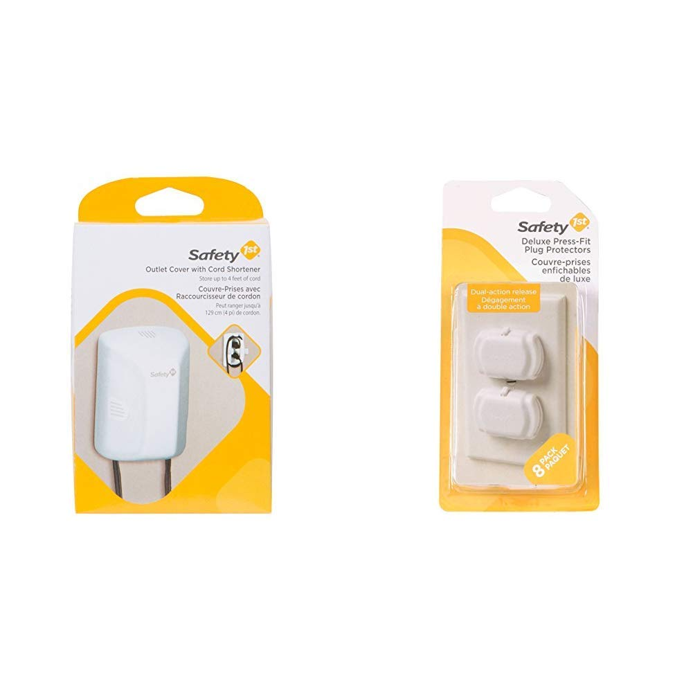 8 Pack Safety 1st Outlet Cover with Cord Shortener