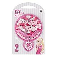 Rico Design Perles à Clipser Pop Beads (60 Perles) 69 Fushia Rose Blanc