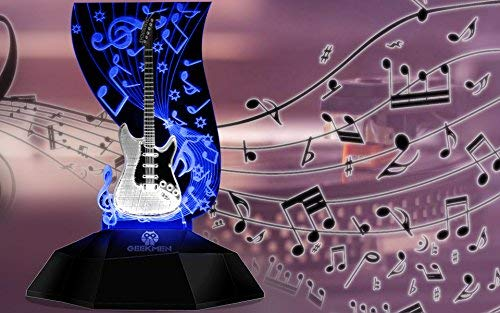 Novelty Lamp, Music Note Indoor Lighting, Touch Switch Illusion Optical Table Lamp Art Music Instrument Guitar 3D Line Lamp LED Decorative Night Light Guitarist Music Room Decor Unique Gift Idea for M by LIX-XYD (Image #5)