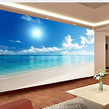 Amazoncom Lifme Custom Mural Wallpaper 3d Ocean View Blue