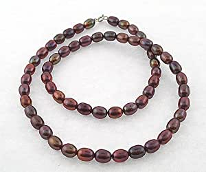 """Chocolate 6-7mm Rice Shape Freshwater Pearl Necklace 36"""" with a Silver Clasp"""