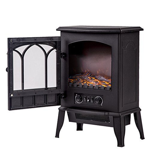 Oak Classic Vented Gas Logs (NEW Black, 750W/1500W Standing Electric Fireplace Heat Log Flame Stove Portable energy save FP22)