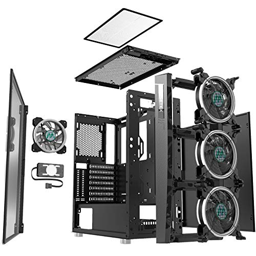 MUSETEX Gravel Black ATX Mid-Tower with 4 PCS x 120mm ARGB Fans and USB 3.0 Port Tempered Glass Side Panel Computer Gaming Case(A01)