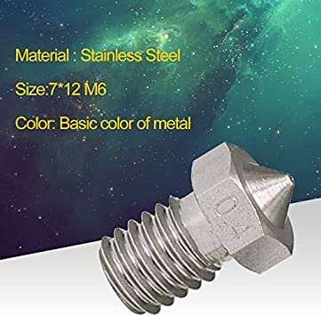 Stainless Steel Nozzle 3D Printer Accessories Nozzle Stainless Steel Metal Nozzle 0.2-0.8 Mm for 1.75Mm Filament for 3D Printer