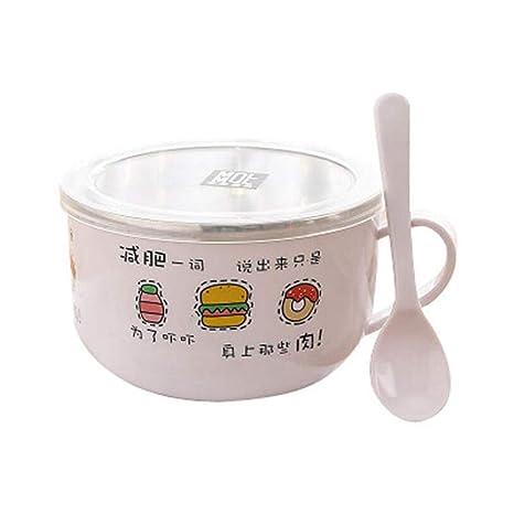 Tazón de sopa, acero inoxidable lindo con tapa instantánea ...