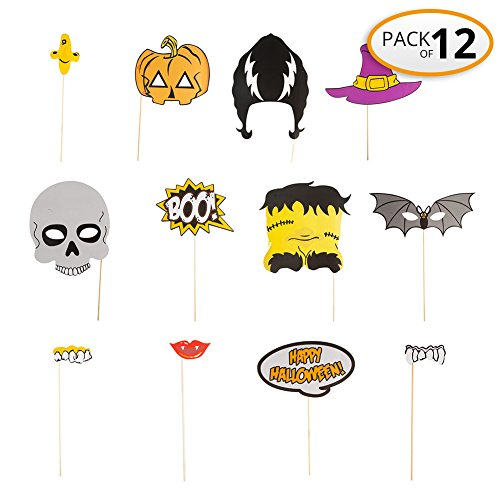 Halloween Party Masks Decorations Stick Photo Booth Props, Halloween Birthday Family Party Popular, NO DIY, Pack 12