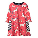 Hongshilian Girls Cotton Long Sleeve Cartoon Pattern Dress (5T, Unicorn & Red)