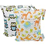Image: Yarra Modes Baby Wet and Dry Cloth Diaper Bags   Double zippered pockets, one for dry, clean items, another for wet items or dirty diapers   Zipper closure contains leaks and odors