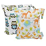 Baby : Yarra Modes 2 pcs Baby Wet and Dry Cloth Diaper Bags (Giraffe and Owls)