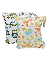 Yarra Modes 2 pcs Baby Wet and Dry Cloth Diaper Bags (Giraffe and Owls) BOBEBE Online Baby Store From New York to Miami and Los Angeles
