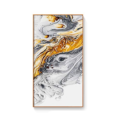 (Modern Colour Dye Ink Splash Canvas Painting Posters and Print Abstract Decor Wall Art Pictures for Living Room Bedroom Aisle,65X122Cm(No Frame),B Gold)
