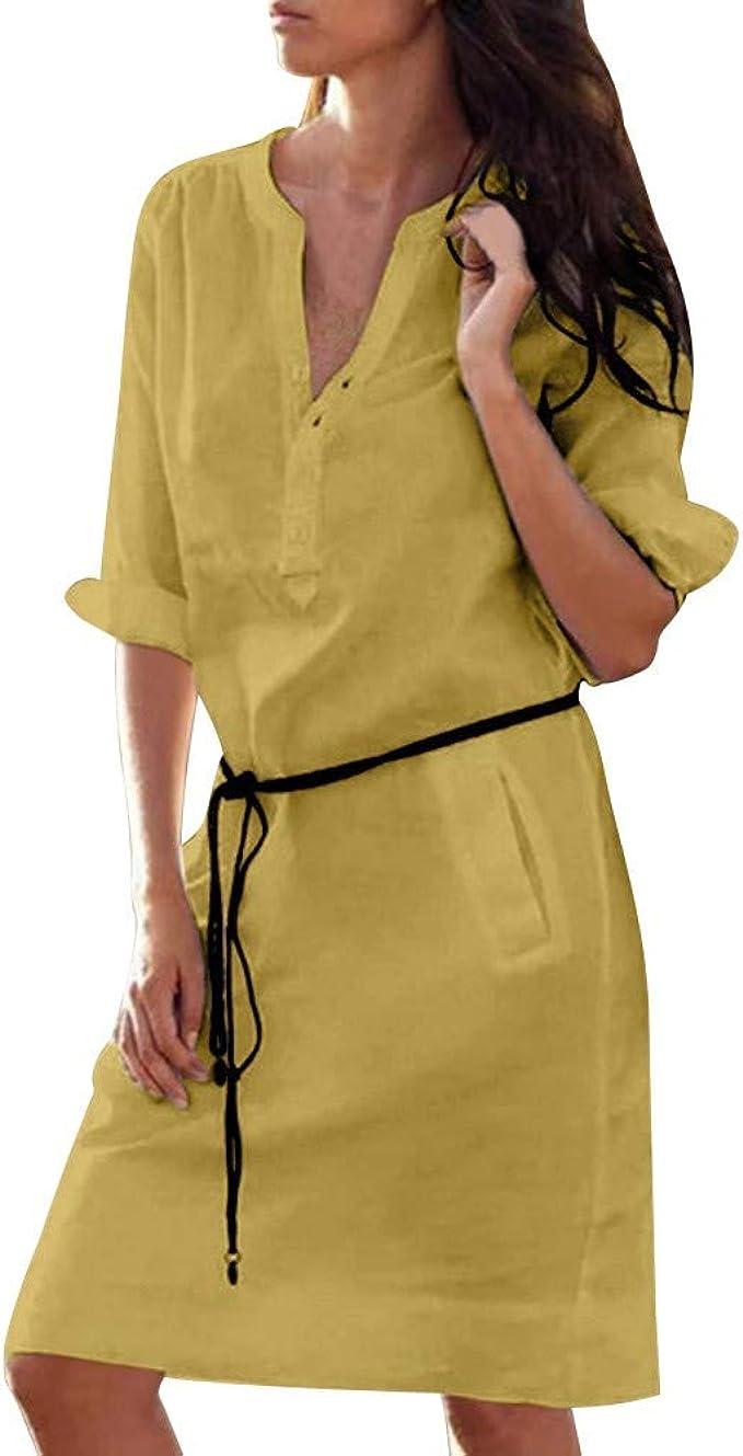 Goosuny Damen Kleider Baumwolle Leinen Blusenkleid V-Ausschnitt