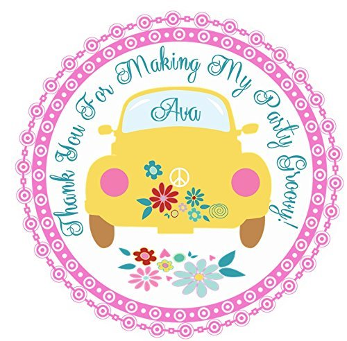 1970s Groovy Hippie Birthday Party Stickers