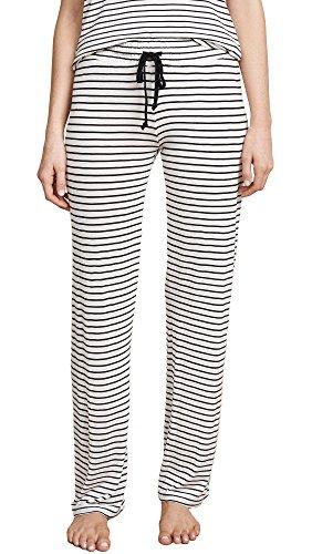 PJ Salvage Women's Sleep Pants, Ivory, Off White, Stripe, Large
