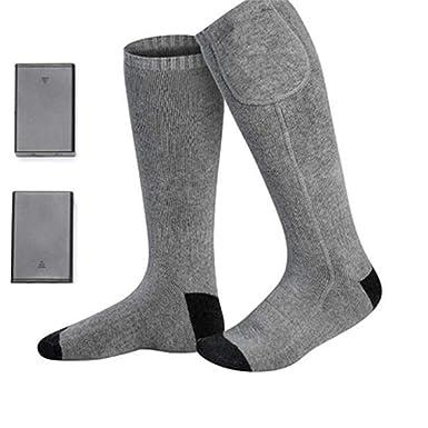 AZX Calcetines de deporte con calefactor para hombre y mujer, Calcetines eléctricos recargables, calcetines térmicos con pilas para Invierno (Gris): ...