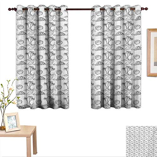Sketch Decor Curtains by Sea Island with Palm Trees Boat Turtles Shells Hawaiian Ecology Turtles Scallops 63