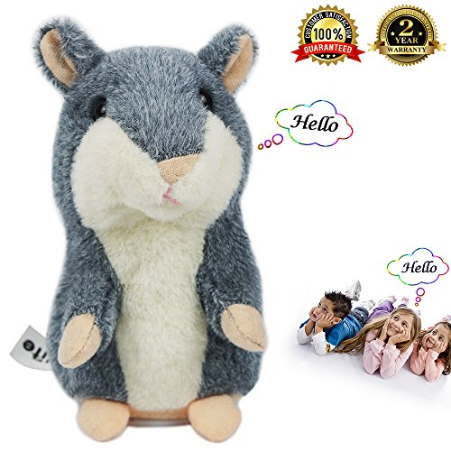 Electronic Hamster Talking Back Toy Repeats What You Say Hamster Repeats Talking Hamster Mimicry Pet for Christmas Gifts and Birthday Present ( Gray Color - Does Dog The Say