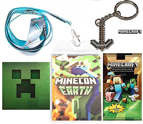 Mine, Craft, Build! + Minecon Lanyard / Pickaxe Keychain & Creeper Foil Sticker Collectible Video Game Gear Bundle ()