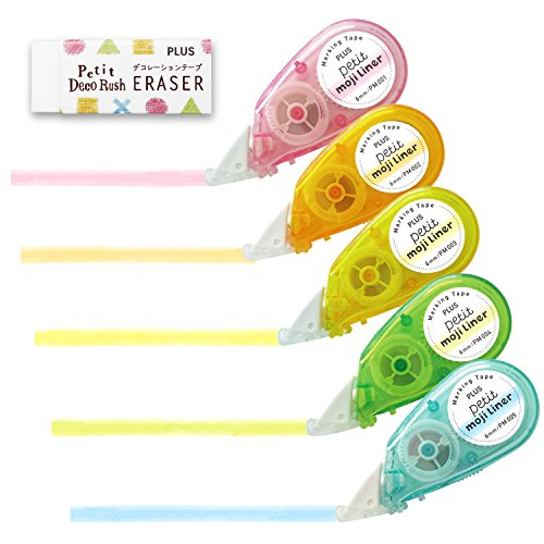 (Plus marking tape Petit Moji liner soft touch all five colors set + eraser)
