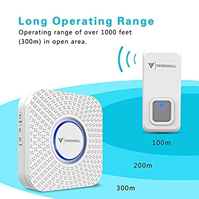 Tenswall Wireless Doorbell Waterproof Door Bell Kit - 1000 Ft Long Range, 55 Chimes, 5 Level Volume, LED Indicator, 2 Remote Buttons & 2 (No Battery required) Plug-In AC Receiver (White)