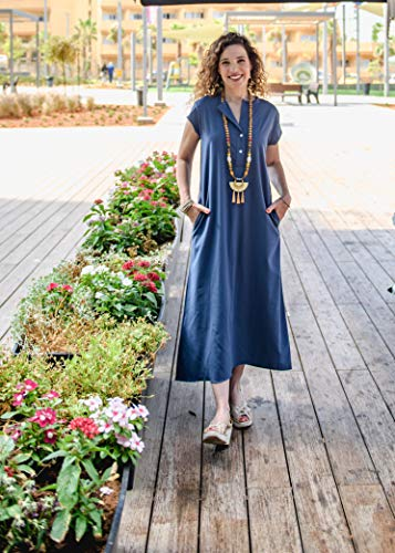 Maxi Oversized Blue Viscose Button Dress, Casual Or Evening Handmade Designer Women's Wide Dress with Side Pockets and V Neckline, Size 6-12 by Sisters By Orli Melamed