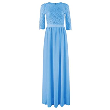 Daxin Womens Floral Lace Chiffon Dresses Elbow Sleeve Vintage Swing Prom Party Bridesmaid Dress
