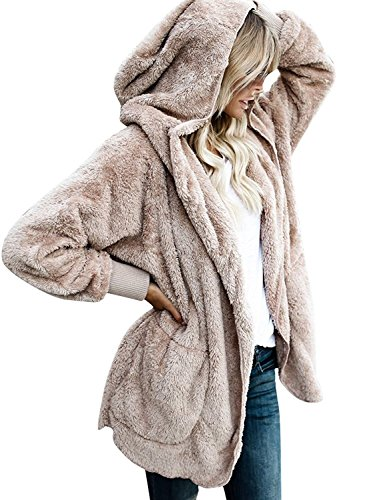 Vansha Women's Fuzzy Fleece Oversized Open Front Cardigan Hooded Jacket Outerwear (Fleece Lined Hooded Cardigan)