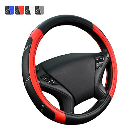 CAR PASS Universal Line Rider Black and Red Leather Steering Wheel Cover