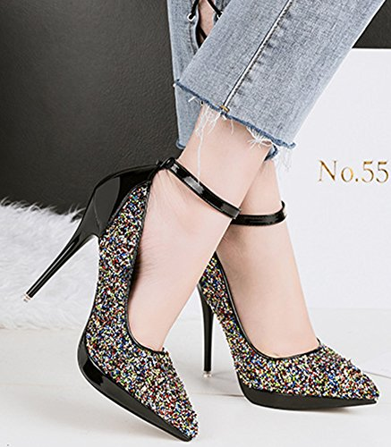 Dressy Womens Sequined Stiletto Ankle High Shoes Toe Strap Nightclub Sexy Multicolored Heel Aisun Pointed High Buckled Pumps ntUxdwYqYz