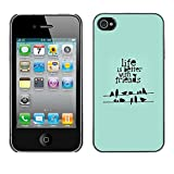 LASTONE PHONE CASE / Slim Protector Hard Shell Cover Case for Apple Iphone 4 / 4S / Cool Quote Birds Green Gift Mint
