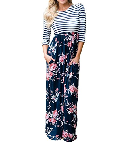 Coolred Coutures D'impression De Femmes À Manches Longues Rayé Bleu Taille Mince Mi Robe