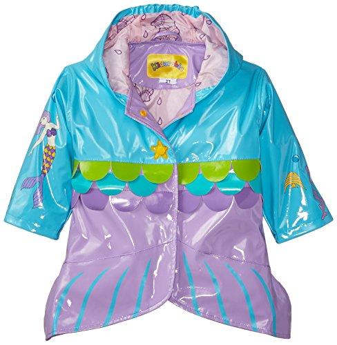 Kidorable Little Girls' MermaidAll Weather Waterproof Coat, Blue, Size 6/6X