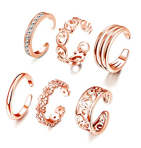FUNRUN JEWELRY 6PCS Adjustable Toe Ring for Women Girls Open Tail Ring Band Hawaiian Foot Jewelry Rose Gold Tone ()