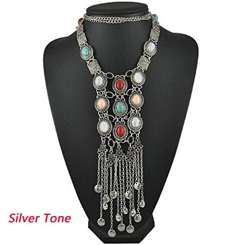 SUNSCSC Vintage Retro Rhinestone Turquoise Long Boho Bohemian Statement Necklace for Women (Silver Plated) -