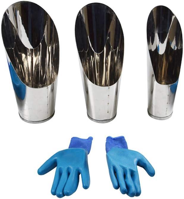 Gardening Soil Scoop,3 pcs Set Potting Bonsai Stainless Steel Shovel + Gloves for Garden Seedling Planter