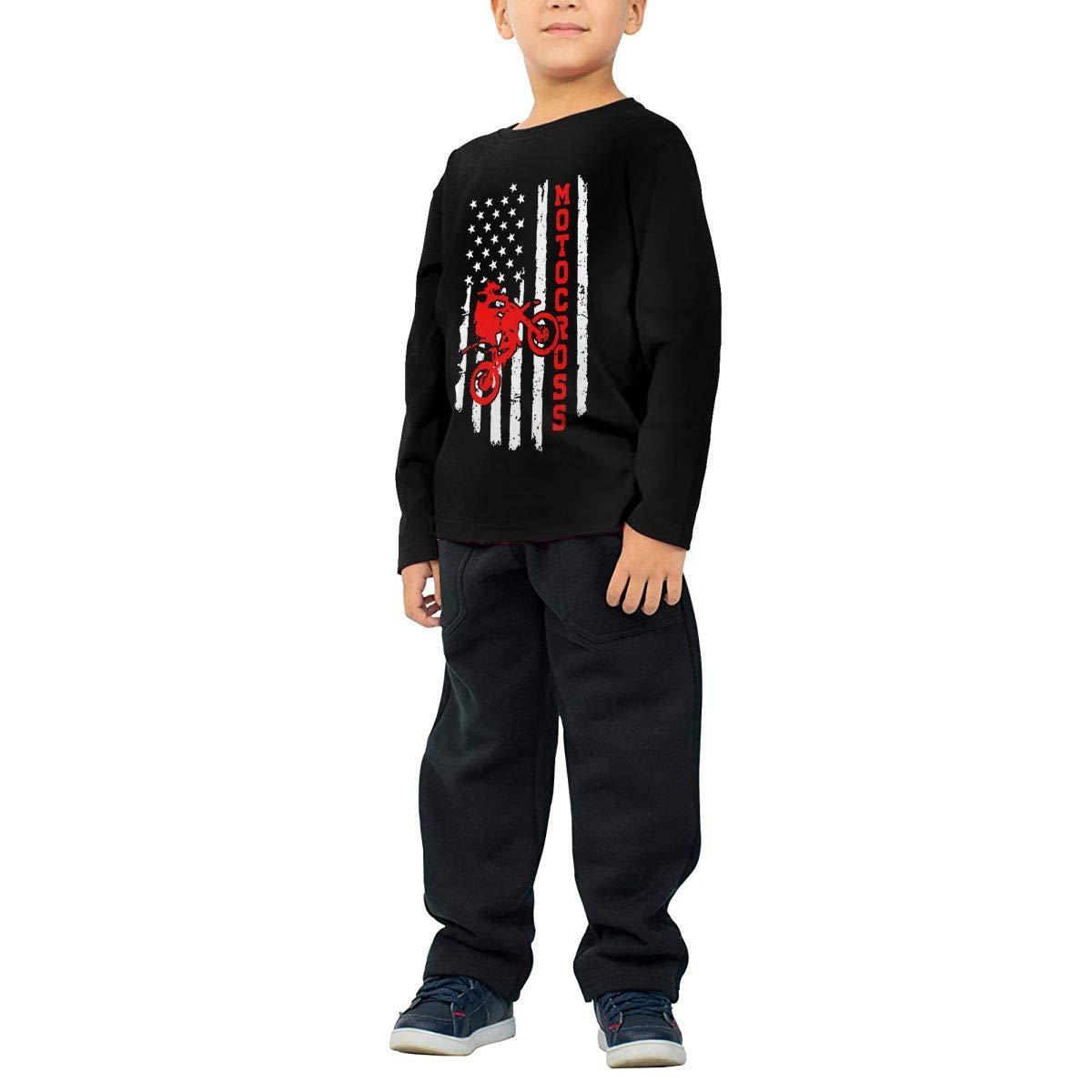 Fryhyu8 Baby Girls Childrens American Flag Motocross Dirt Bike Printed Long Sleeve 100/% Cotton Infants T-Shirts