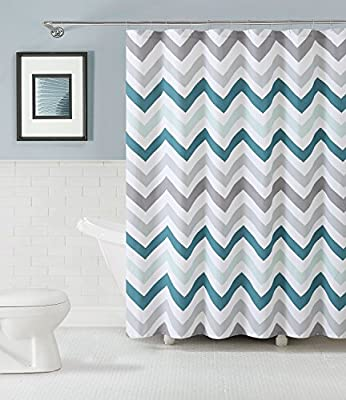 Shower Curtain With Hooks Bathroom Anti-Bacterial Waterproof Chevron Aqua Polyeste