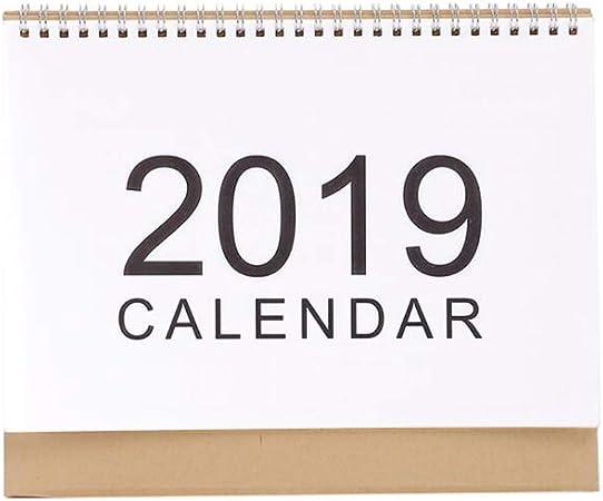 2019 Calendarios de Mesa Planificador semanal 2018 Plan mensual Lista de tareas Calendario de Escritorio Calendario de Escritorio de Estilo Simple Diario (Color : White, tamaño : 25.5 * 7 * 21cm): Amazon.es: Hogar