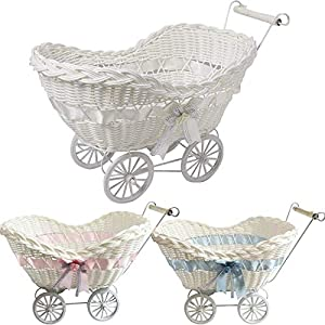 FB FunkyBuy Large Baby Pram Hamper Wicker Basket Premium Quality Shower Party Gifts Boys Girls New Born (White)