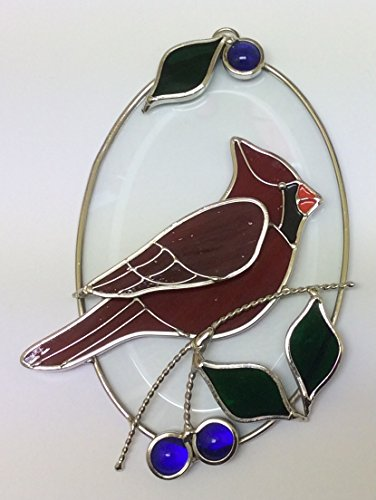 Real Stained Glass Cardinal on Beveled Oval
