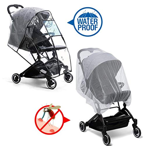 Stroller Rain Cover & Mosquito Net,Universal Baby Jeep Stroller , Protection Against Mosquitos,Clear Windproof Waterproof,Travel Umbrella Cover for Pram,Outdoor Use (Air Holes)