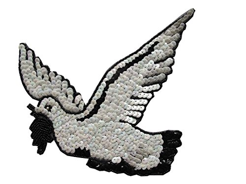 7-1/2'' Sequin Bird,Beaded Peace Pigeon/Dove Sew On Applique Patch by ade_patch