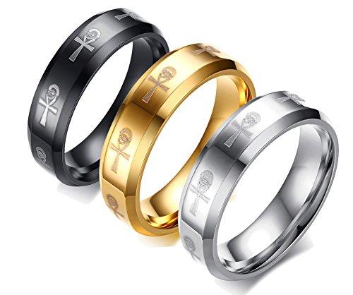 XUANPAI 3 Pcs Egyptian Eye of Horus Ankh Cross Engraved Ring Stainless Steel Engagement Wedding Band Ring