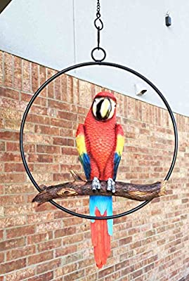 """Ebros Patio Home Garden Hanging Scarlet Macaw Parrot Perching on Branch in Metal Round Ring Figurine Sculpture Nature Lovers Tropical Bird Collectors Decor 13.5"""" H"""