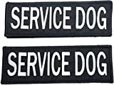 Leashboss Service Dog Patches for Vest - Embroidered 2 Pack - Hook and Loop Both Sides - 3 (Service Dog, 1.5 x 4 Inch)