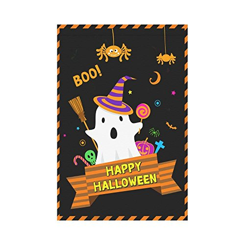 HUVATT Witch Flying on her Broomstick Polyester Garden Flag Outdoor Banner 28 x 40 inch, Halloween Bats Spooky Night Decorative Large House Flags for Party Yard Home Decor -