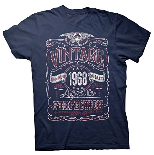 ShirtInvaders Vintage Aged To Perfection 1968 - Distressed Print - 50th Birthday Gift T-Shirt  - Navy